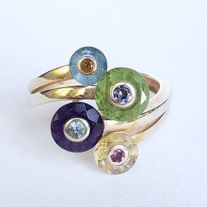 Unique 14k Gemstone Spinning Circle Ring